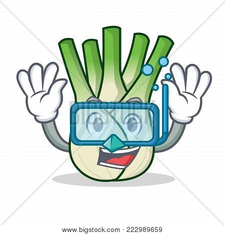 Diving fennel character cartoon style vector illustration