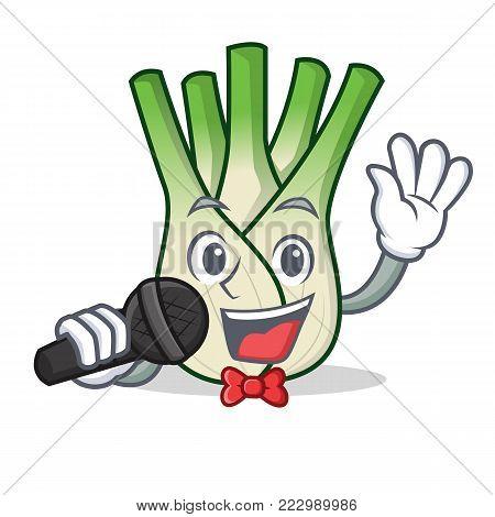 Singing fennel mascot cartoon style vector illustration