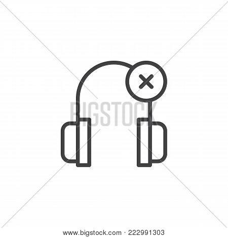 Headphones delete line icon, outline vector sign, linear style pictogram isolated on white. Symbol, logo illustration. Editable stroke