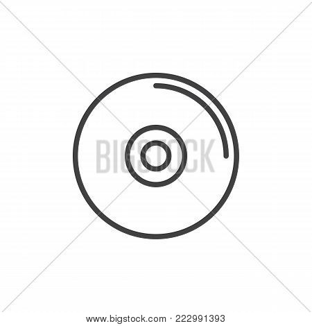Compact disc line icon, outline vector sign, linear style pictogram isolated on white. CD or DVD symbol, logo illustration. Editable stroke