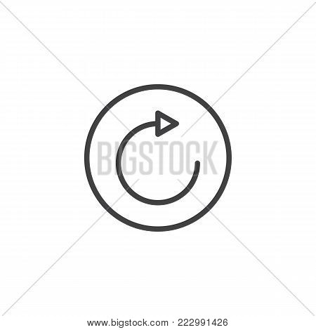 Repeat button line icon, outline vector sign, linear style pictogram isolated on white. Refresh and reload arrow symbol, logo illustration. Editable stroke