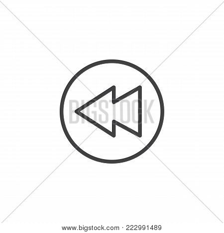 Rewind button line icon, outline vector sign, linear style pictogram isolated on white. Symbol, logo illustration. Editable stroke