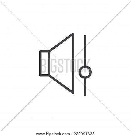 Speaker volume control line icon, outline vector sign, linear style pictogram isolated on white. Sound bar symbol, logo illustration. Editable stroke