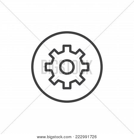 Setting circular button line icon, outline vector sign, linear style pictogram isolated on white. Gear, settings circular symbol, logo illustration. Editable stroke