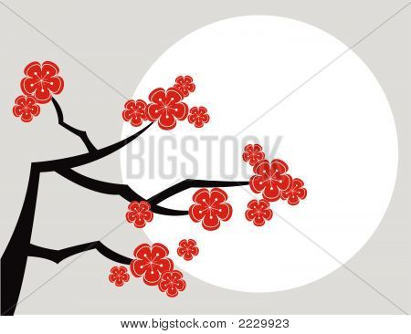 Red Cherry Blossom And Moon On Grey (Vector)