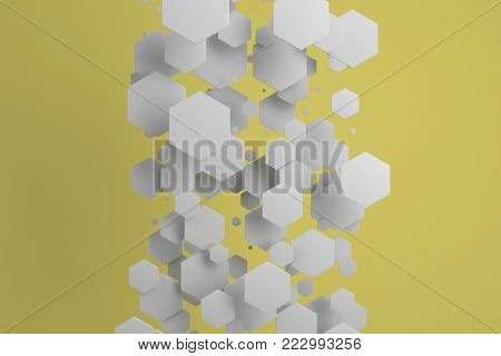 White Hexagons Of Random Size On Yellow Background