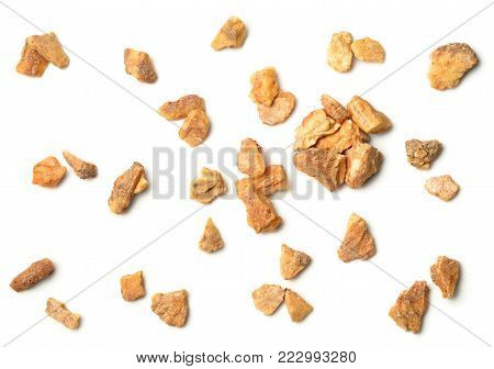 styrax benzoin isolated on white background, top view