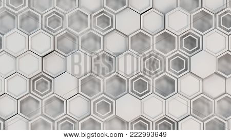Abstract 3D Background Made Of White Hexagons