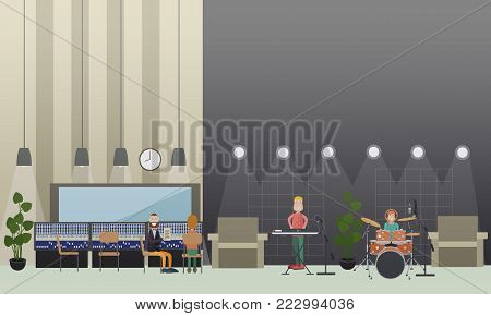 Vector illustration of musicians in headphones playing drum kit and synthesizer. Radio studio workers, musicians creating content for radio broadcast using sound recording equipment.