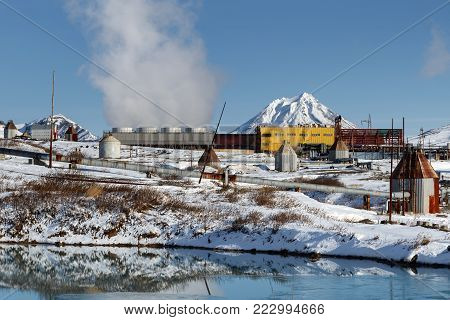 KAMCHATKA PENINSULA, RUSSIAN FAR EAST - OCT 22, 2017: Mutnovskaya Industrial Geothermal Power Plant generating electricity for Petropavlovsk-Kamchatsky City and other settlements of Kamchatka Region.
