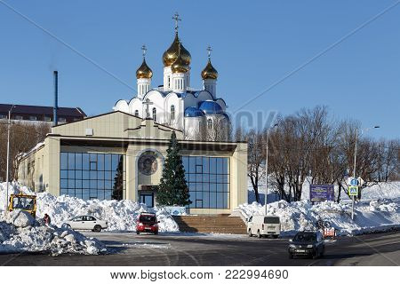 PETROPAVLOVSK CITY, KAMCHATKA, RUSSIA - JANUARY 6, 2018: Diocesan Spiritual and Enlightenment Center and Holy Trinity Orthodox Cathedral of Petropavlovsk, Kamchatka Diocese of Russian Orthodox Church.
