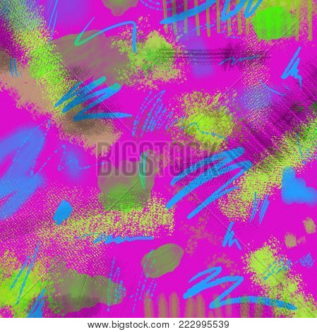 Abstract Neon geometrical 80s and 90s hand draw glamour pattern with neons colors. Neon Watercolor brush paint glam pattern for girls. Modern retro neon pattern with watercolor lines, dots. Glamour neon background.