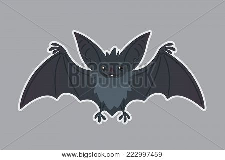Bat animal. Vector illustration of bat-eared grey creature in flat style with silhouette syblayer. Sticker. Element for your design, print, artwork. Cute Halloween bat vampire icon