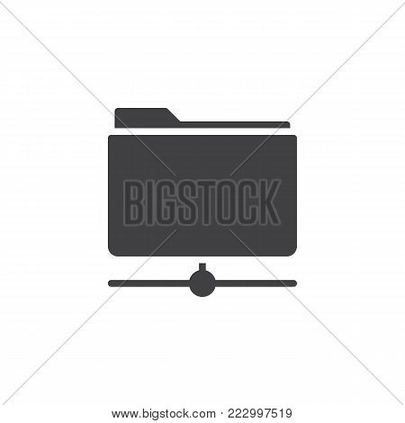 Folder share icon vector, filled flat sign, solid pictogram isolated on white. File data center server symbol, logo illustration.