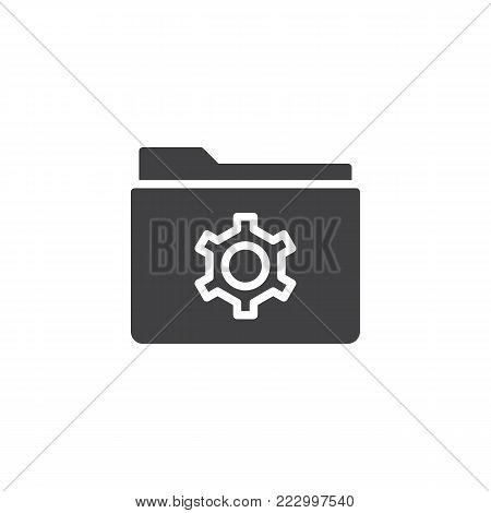 Folder with gear icon vector, filled flat sign, solid pictogram isolated on white. folder settings symbol, logo illustration.