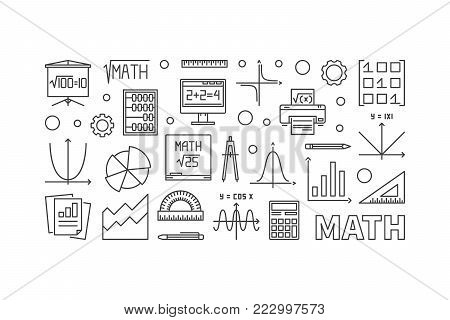 Math education concept horizontal banner. Vector illustration in outline style made with mathematical icons