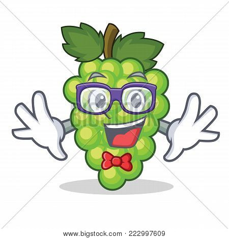 Geek green grapes character cartoon vector illustration