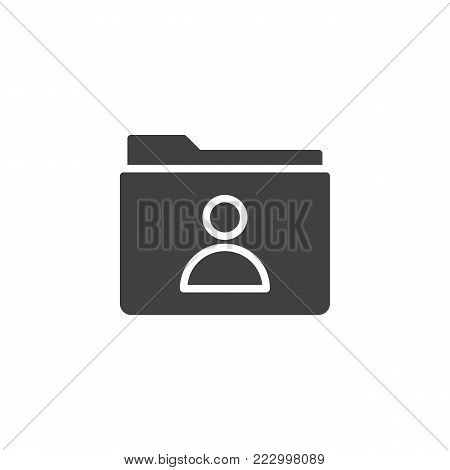 User folder icon vector, filled flat sign, solid pictogram isolated on white. Folder with person symbol, logo illustration.