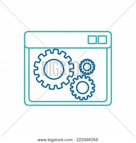 Site and gear of web responsive website and technology theme Isolated design Vector illustration