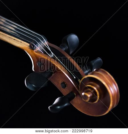 For music news. The extreme part of the violin fretboard is on a black background. A close-up of a tin box and a classic curl. A square picture.