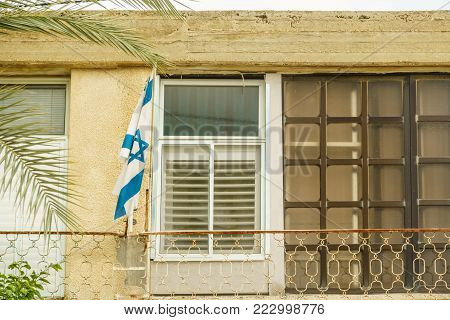 Jewish city architecture and national Israeli flag symbol. Historical building decoration.