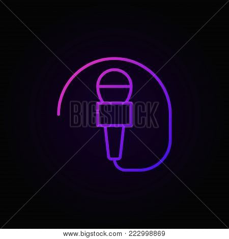 Wired mic vector concept colorful icon or symbol in thin line style on dark background