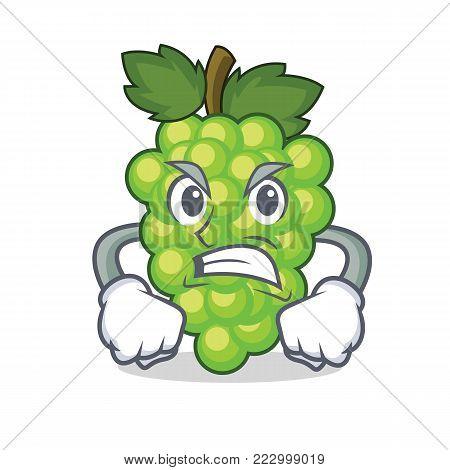 Angry green grapes mascot cartoon vector illustration