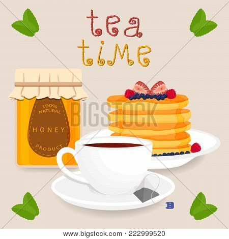 Vector icon illustration logo for white ceramic cup, whole jar honey, pancake, teacup on saucer. Teacup pattern consisting of tea brewed in porcelain cups, sweet pancakes. Drink hot teas from teacups.