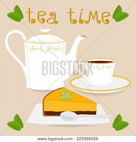 Vector illustration for ceramic cup, white teapot, teacup on saucer, slice pumpkin cheesecake. Teacup pattern of tea brewed in porcelain cups, teapot, cut cheesecakes, spoon.Teas in teacups of teapots