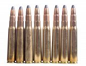 Bullets . Gun cartridge 8mm caliber isolated on white background poster