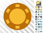 Casino Chip playing cards pictograph with additional bitcoin mining and blockchain pictographs. Flat vector graphics for blockchain toolbars. poster