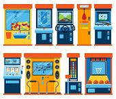Game machine arcade vector gambling games in casino gamesome gambler or gamer bet in gaming computer machinery gameplay claw a toy or play old console set illustration isolated on white background. poster
