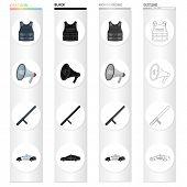 Bulletproof vest, loudspeaker, police baton, car. Police set collection icons in cartoon black monochrome outline style vector symbol stock illustration . poster