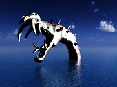 A scary image of what could be the Loch Ness Monster swimming in the Loch. It would make a good Halloween image. poster
