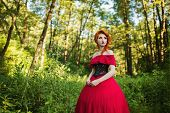 Beautiful red-haired girl in a red dress and in black corset. Beautiful red-haired girl in a red dress and in black corset. Fairy in the forest. Fairy in retro dress. Beautiful fairy from a fairy tale. A young fairy with a beautiful hairdo. Fairy on a fai poster