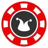 Joker Casino Chip flat vector pictogram. An isolated icon on a white background. poster