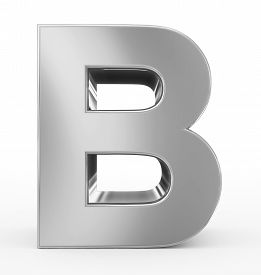 letter B 3d silver isolated on white - 3d rendering