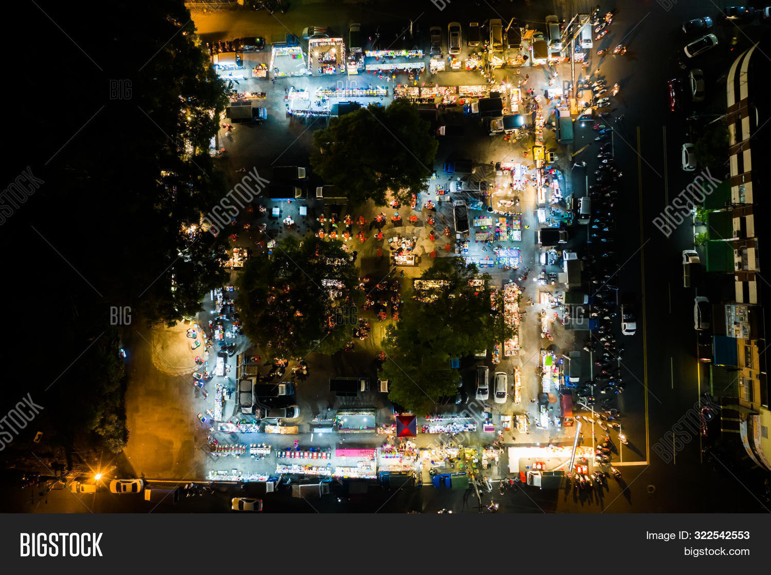 Nantou, Taiwan - September 11th, 2019: aerial view of Shuren night marketplace at Puli town, Nantou, Taiwan