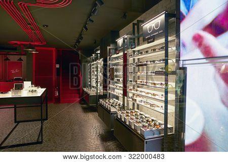 VERONA, ITALY - CIRCA MAY, 2019: glasses on display at Ray-Ban store in Verona.