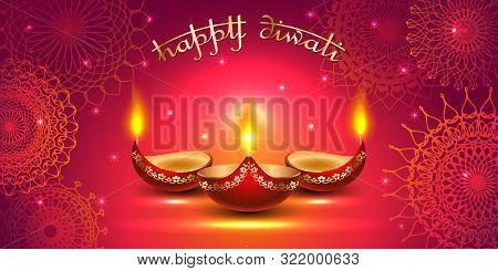 Vector Banner India Diwali, Deepavali Festival Of Lights, Red Background Dipavali With Gold Ornament