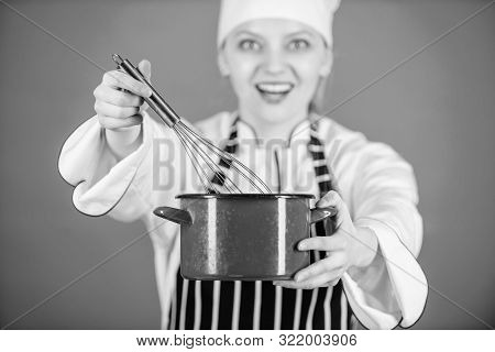 Whipping Cream Tips And Tricks. Woman Professional Chef Hold Whisk And Pot. Start Slowly Whisking Wh