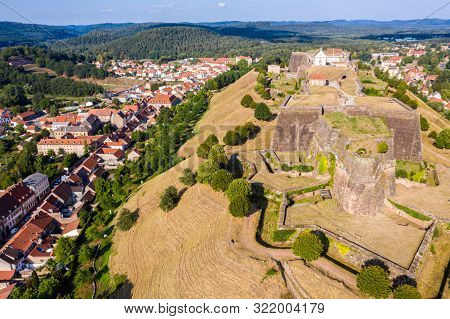 Star Shaped Bastions And Outworks Of Citadelle De Bitche, Fortress And Stronghold Near German Border