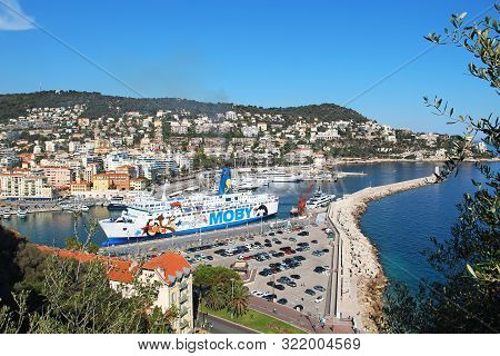 Nice, France - June 23, 2016: Moby Cruise Ferry In The Port Of Nice, Cote Dazur