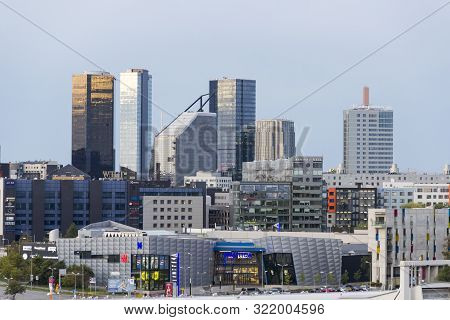 Tallinn, Estonia - September 3, 2019: Tallinn Modern Skyline With Skyscrapers, Business Buildings An