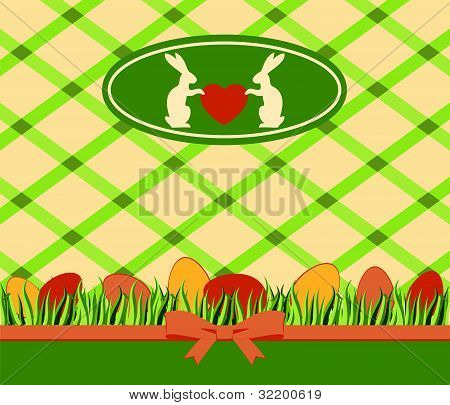 Beautiful easter card with bunny and eggs on lace background vector
