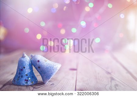 Christmas Decor With Bright Bokeh Lights. Magic Winter At Christmas Time. Xmas Decoration With Chris