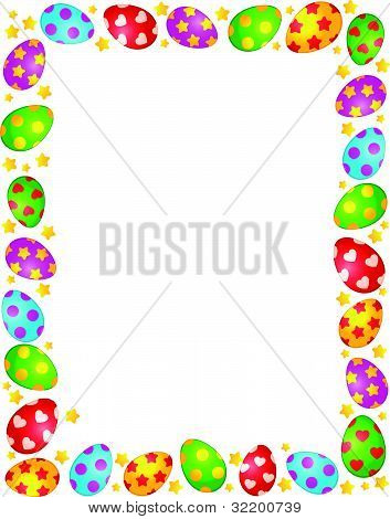 The frame of decorative Easter eggs on the background of vector