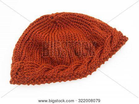 Knitted Russet Hat Isolated Fashion Accessory Fall And Winter Cap For Women.