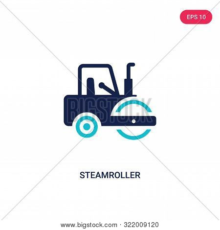 steamroller icon in two color design style.