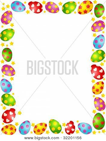 The frame of decorative Easter eggs on the background of